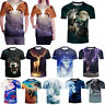 Men's 3D Print Wolf T-Shirts Casual Couples Short Sleeve Animal Graphic Tee Tops