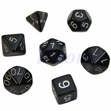 7x Black Sided Die D4 D6 D8 D10 D12 D20 DUNGEONS&DRAGONS RPG Poly Dice Game