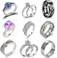 Fashion Unisex Stainless Steel Crystal Ring Men/Women's Wedding Band SZ 6-12 TR