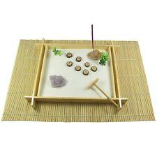 Large Wooden Zen Garden with Amethyst Crystal, Sable, Rake, mat, Stone & Incense