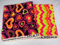 Fleece Fabric Pieces Heart Shapes Jo-Ann's Bright Colors Sizes 30x13,27x27,11X60