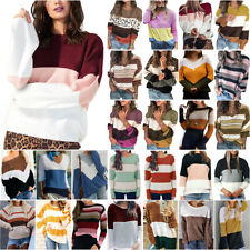 Womens Patchwock Sweater Jumper Casual Long Sleeve Pullover Tops Shirt Outwear