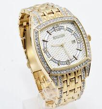 New Elgin Men`s Gold-Tone Date Crystal Band Rectangle Quartz  Watch FG7097