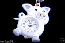 CUTE PIG KEYCHAIN WHITE TONE KEYRING QUARTZ WATCH