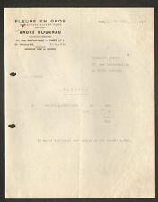 """PARIS Halles (I°) FLEURS en gros """"André HOURNAU"""" en 1946"""