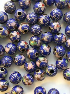 50 8mm Round Vintage Navy & Gold Cloisonne Beads - 1/2 Drill Great for Earrings