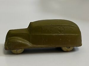 Sun Rubber Co. Vintage Army Green Hard Rubber Ambulance Sedan Toy