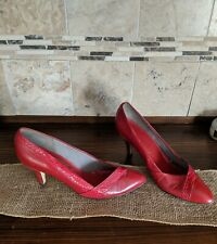 Vintage Womens Shoes Size 7.5 Us Red Heel Medium Pointed Toe