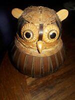 Vintage 1970's Wicker/Wooden Owl trinket keeper SHANGHAI