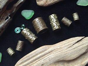 7 x Bronze Dreadlock Beads Celtic Viking Beard Rings Mix 4-10mm Hole Antique UK