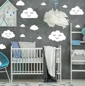 16 Clouds With Faces Wall Stickers Decals Vinyl Kids Bedroom Nursery Boys Girls