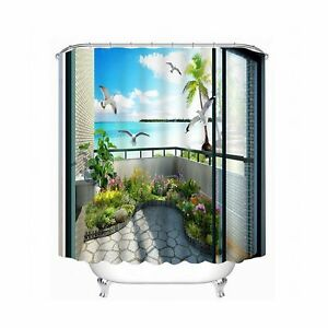 Babycare Pro 3D Bathroom Shower Curtain Beautiful Scene in the Balcony (200*1...