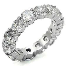 4 TCW 925 Silver Round CZ Eternity Wedding Anniversary Bridal Ring Band Size 9.5