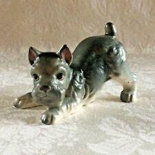 "Vtg Norcrest A722 Playful Schnauzer Dog Figurine Porcelain Japan 2-1/2"" T x 4"" L"