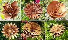 Metal Rust Garden Flowers Stakes - Outdoor Sculpture Decorative Plant Sticks