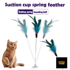 Cat Teaser Wand Feather Bell Decor Spring Suction Cup Cat Toy