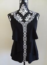 WHITE HOUSE BLACK MARKET Embroidered Tiered Top Black & White - XS (0/2) - NWT