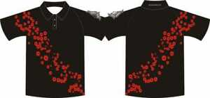 Black Cascading Remembrance Poppy rugby shirt, heavy duty 200microgram
