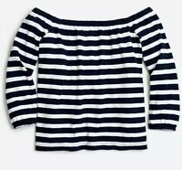 J. Crew Women's XS Knit Top Off Shoulder Nautical Navy White Stripe Long Sleeve
