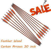 30 inch Feather Carbon Arrows Wood Camo Shaft SP400 for Outdoor Target Hunting