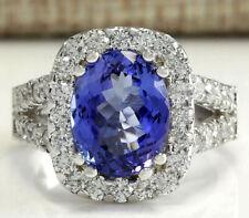 5.66 Carat Natural Tanzanite 14K White Gold Diamond Ring