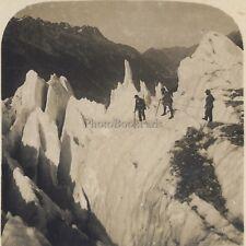 Chamonix Glacier des Bossons Passage difficile Stéréo Stereoview Vintage ca 1920
