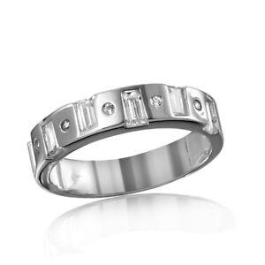 Men's Sterling Silver Ring w/ Round & Baguette Cut CZ Stones