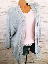 2fb5d623d2dc70 Neues Angebot♥ Italy STRICKJACKE Damen Cardigan Wolle Strick Zopfmuster GRAU  36 38 40 42 S M