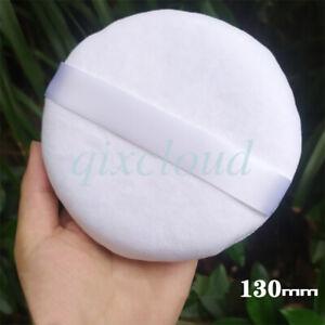 "Large 5"" White Powder Puff Velour Body Makeup Puff with Satin Ribbon Sealed"