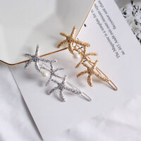 Women Simple Girls Starfish Pearl Leaves Hair Clip Side Clip Hairpin Barrette