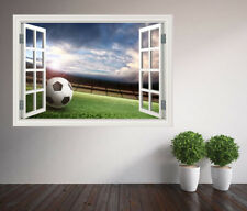 Cool game ball football pitch window wall sticker wall mural (38727339ww)