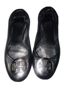 Tory Burch Reva Flats Black Leather Silver Logo Size 8
