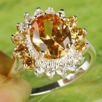 Oval Cut Morganite & White Topaz Gemstone Silver Ring Size 7 Free Shipping