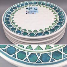 x6 Cynthia Rowley Heavy Melamine Dinner Plate Set Teal Blue Green Desert Tile