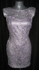 LIPSY Lilac & Silver Lace Overlay Cocktail Evening Dress  - BNWT 14 RRP £70