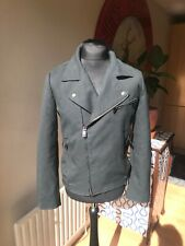 78739e49 BIKER STYE JACKET by ZARA BLACK TAG Dark Green Size L great Fabric lined