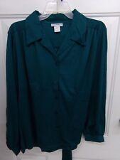 Womens Sz 16 Dark Teal 100% Polyester Button Front Shirt Blouse Vicki Wayne Nwt
