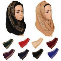 Muslim Women Pleated Floral Lace Pearls Long Shawl Islamic Hijab Head Scarf Wrap