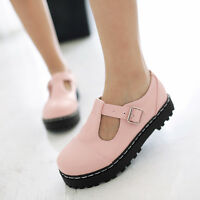 Womens Flat Mary Jane Lolita Pumps T-Strap Summer Brogue Buckle Shoes All US Sz