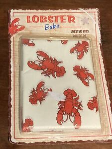 vintage pack of 20 lobster bibs plastic neck Ties