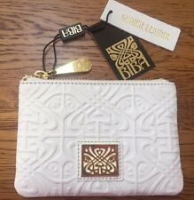 BIBA WHITE LEATHER COIN PURSE FULLY EMBOSSED WITH SIGNATURE ART DECO LOGO BNWT