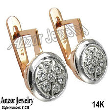 Russian vintage European style diamond earring 14k Rose and White Gold