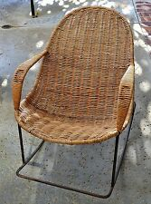 Outdoor Wicker Rocking Chair ~ CHILD SIZE ~ Patio Furniture ~ Black Metal Rocker