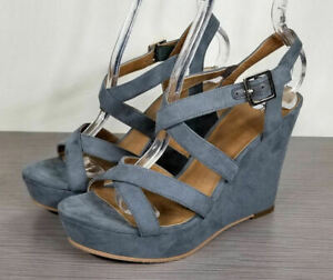 BP Summers Wedge Sandal, Blue-Grey, Womens Size 7.5 M