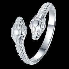 Ring 925 versilbert Schlangenkopf größenverstellbar stylisch trendig cool