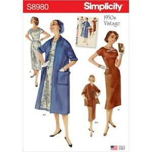Simplicity SEWING PATTERN S8980 Retro 1950s Dresses & Lined Coat 6-14 Or 14-22