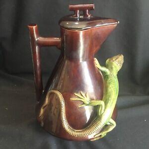 Large Antique Christopher Dresser Pottery Teapot Figural Lizard Kumassie #2