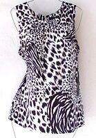 New~Small~BCBG~Black White Leopard Animal Print Shirt Shell Blouse Top~4/6/S
