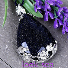 Fashion Jelwery Blue Sand Stone Teardrop Flower Pendant Bead For Necklace Gift