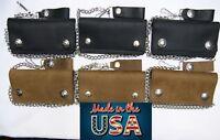 "Men's Leather Chain Wallet Brown or Black Bi-Fold 6"" Biker Trucker USA Made"